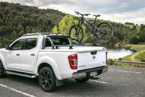 Nissan Navara Ute with hard cover lid and bike rack